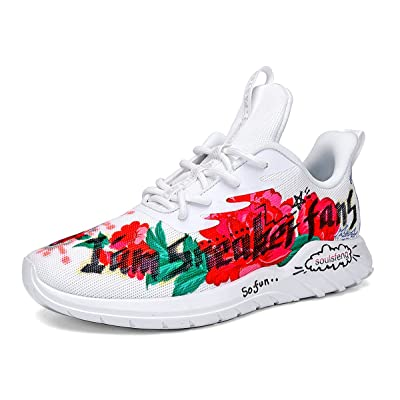 Soulsfeng Mens Sneakers Mens Running Shoes White Flats Low Top Lace Up Hand-Painted Fashion Walking Shoes(US10=EUR44) | Running