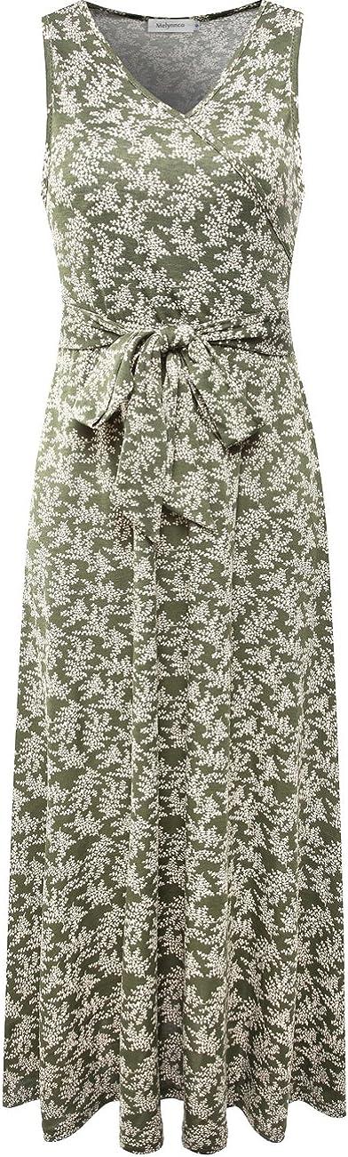 Melynnco Women's Sleeveless V Neck Faux Wrap Casual Floral Long Maxi Dress