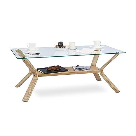 Relaxdays Couchtisch Holz Glas, Rechteckig Massiv XL Glasplatte 120 x 60  cm, 45 cm hoch, Designer Sofatisch, Eiche natur