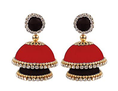 0fcabcf0c Buy thread trends Red and Black Double Decker Silk Thread Jhumka Earrings  for Women Online at Low Prices in India   Amazon Jewellery Store - Amazon.in