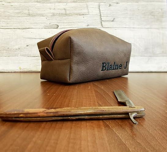 b33751065181 Amazon.com: dopp kit, personalized toiletry bag, shaving bag, brown ...