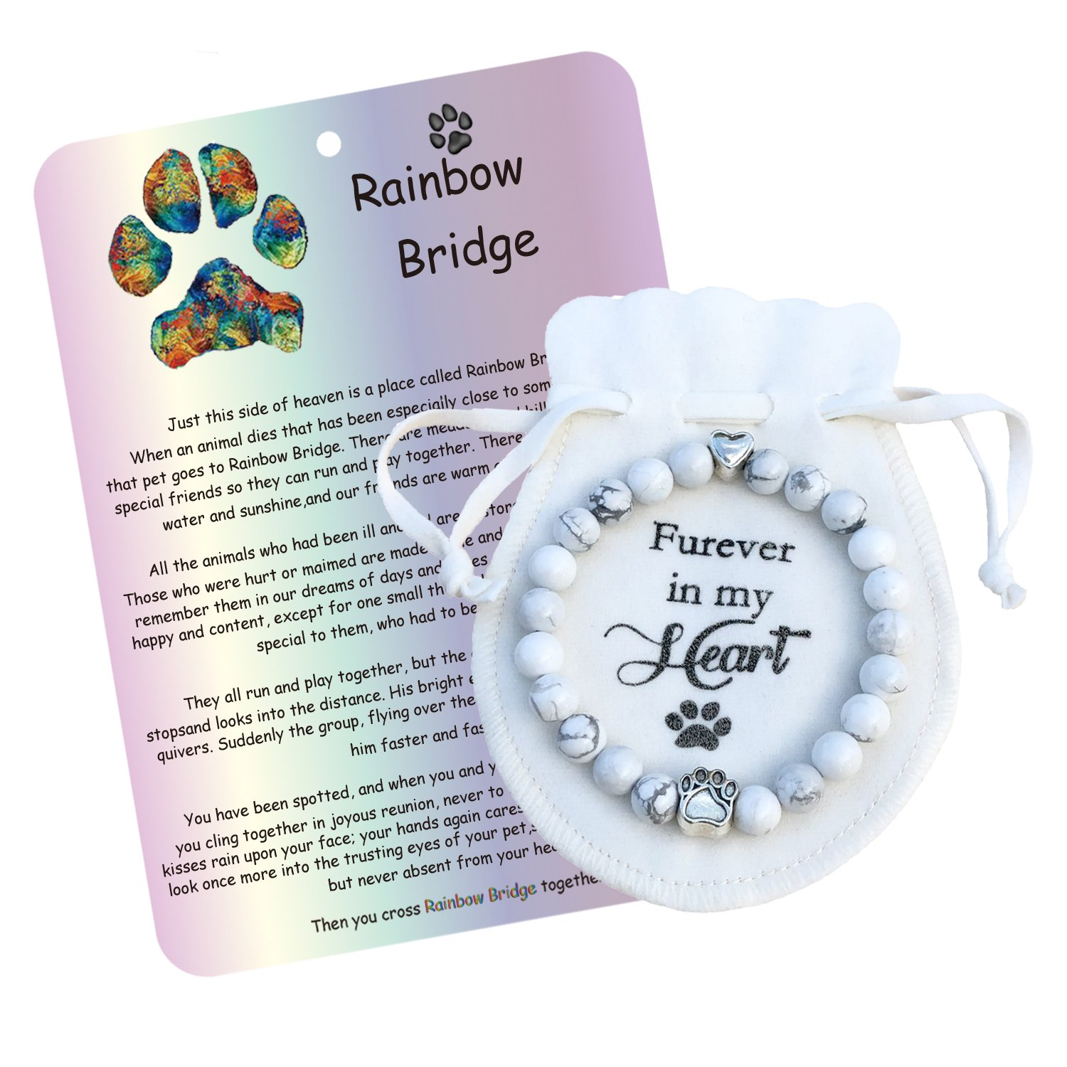 A.B.C. Pet Memorial Bracelet-Loss of Pet Gifts with Rainbow Bridge Card in Loving Memory of Your Beloved Dog Cat- Pet Loss Jewelry