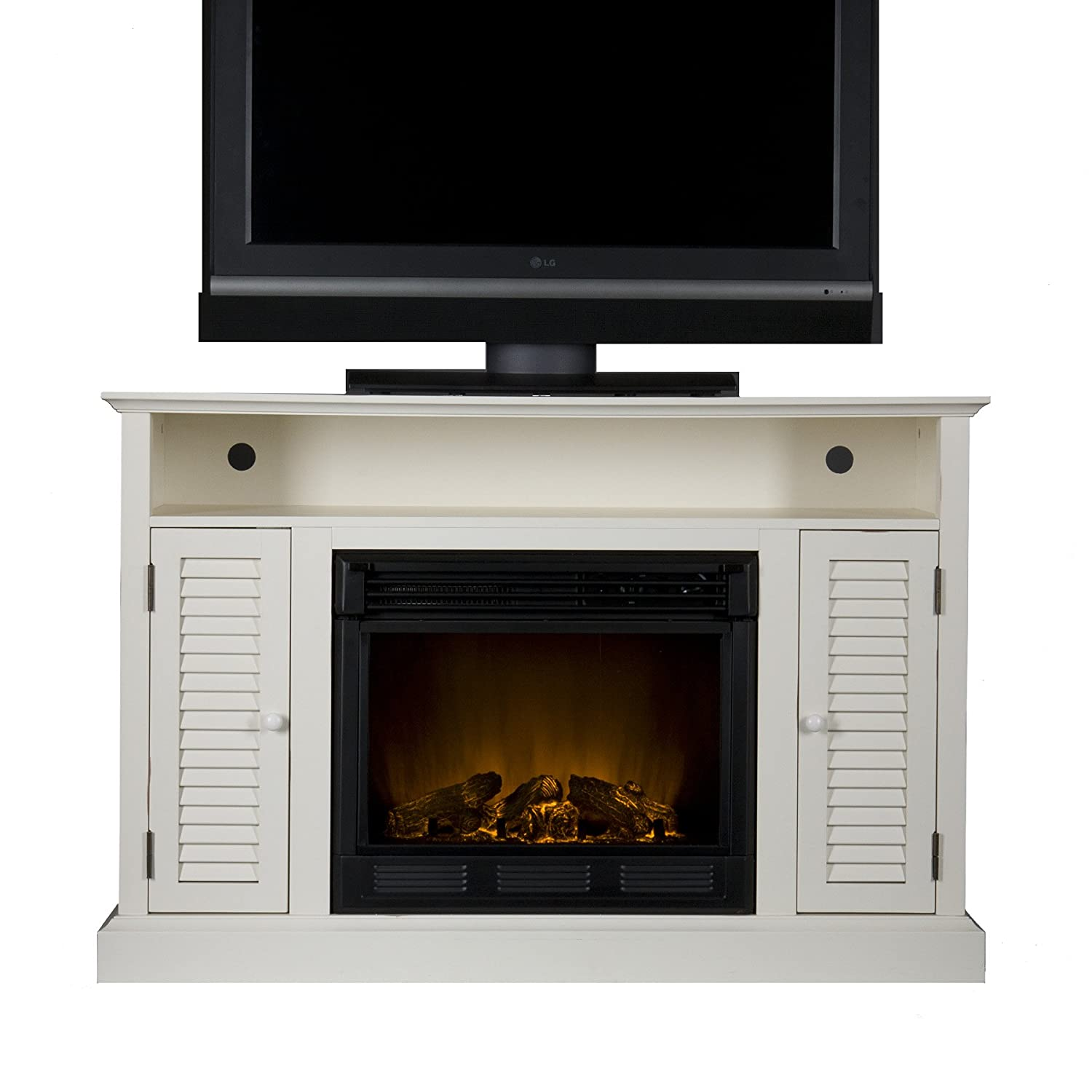 Antebellum Media Electric Fireplace - Antique White TV Stand
