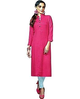 24b3b883562 Ladyline Womens Long Rayon Tunic Top Plain Stripes Button Neck 3/4 Sleeves  Kurti Kurta