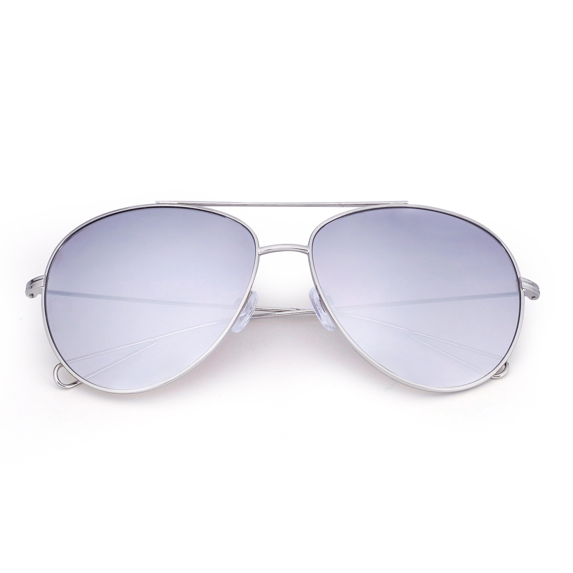 Oversized Aviator Sunglasses Men Women Double Bridge Hollow Temple Tips UV400 (Silver / Mirrored Sliver)
