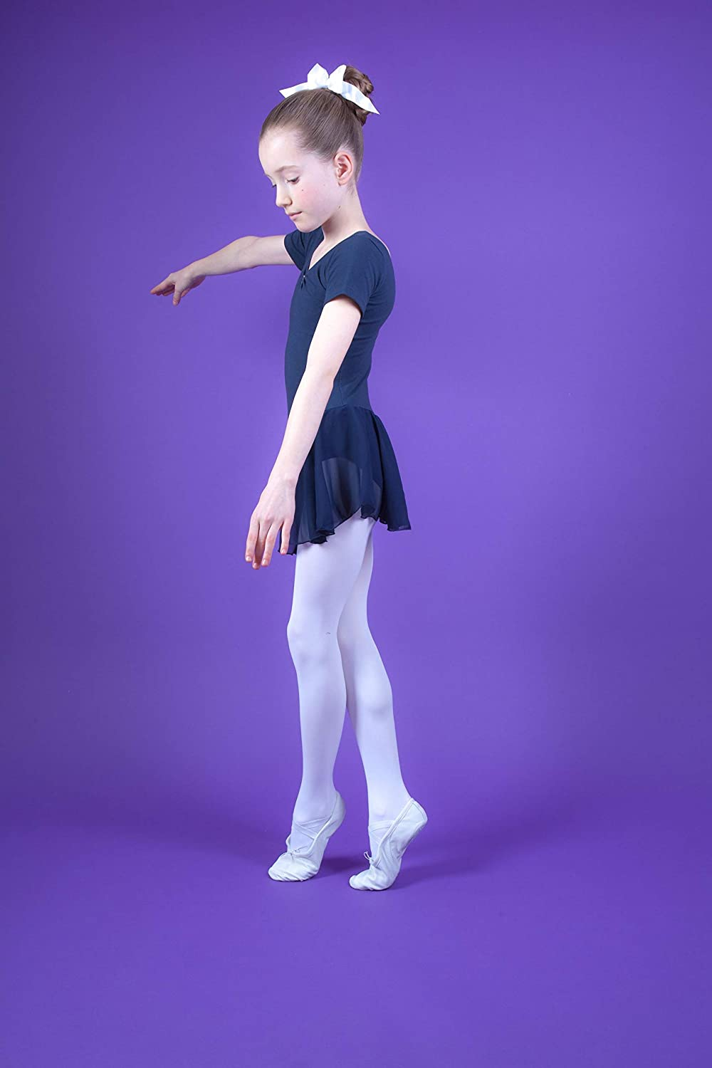 tanzmuster girls/´ short-sleeved ballet leotard Betty with chiffon skirt and rhinestones beautiful dance dress for children in many colors made of soft and durable cotton blend