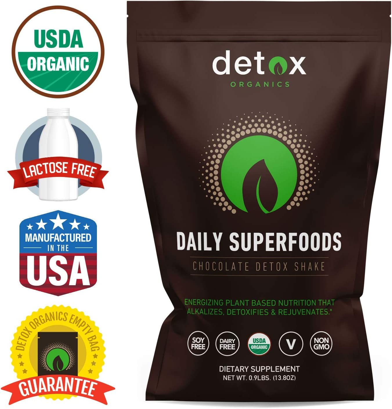 Chocolate Greens SUPERFOOD Powder, Amazing Taste, Organic Super Food Green Daily Vegetable Juice Smoothie Drink Supplement with Wheatgrass and 25 Superfoods by Detox Organics
