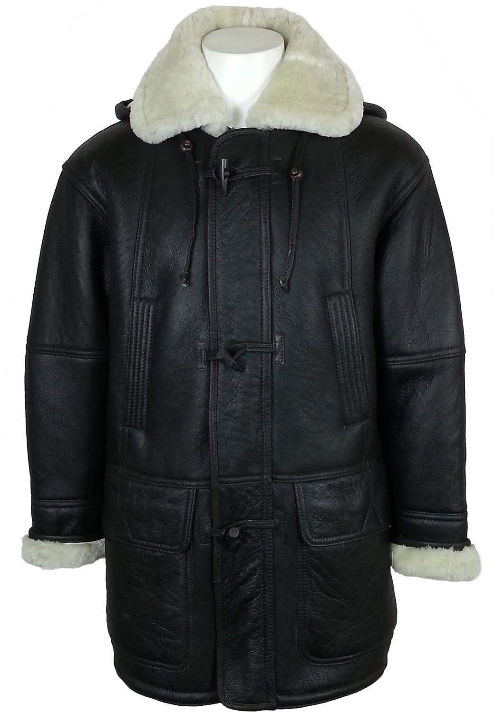 Unicorn London Men's Hooded Sheepskin Fur Leather Duffle Coat at ...