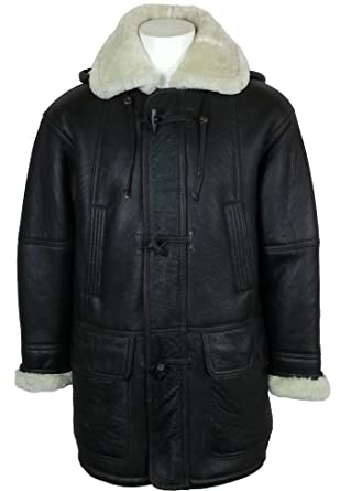 Unicorn London Men's Hooded Sheepskin Fur Leather Duffle Coat at ...