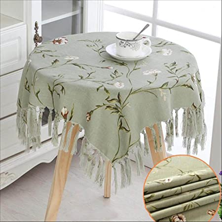 Hhlqy Luxury Small Round Tablecloth Garden Table Coffee Table Cloth Color Light Green Size 120cm