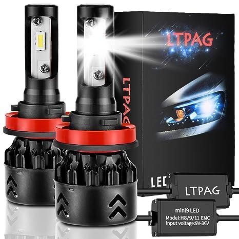 LTPAG Bombilla H11 LED Coche, 2pcs 72 W 12000LM H9 LED Faros Delanteros Bombillas LED H8 H9 H11 Lámparas para ...
