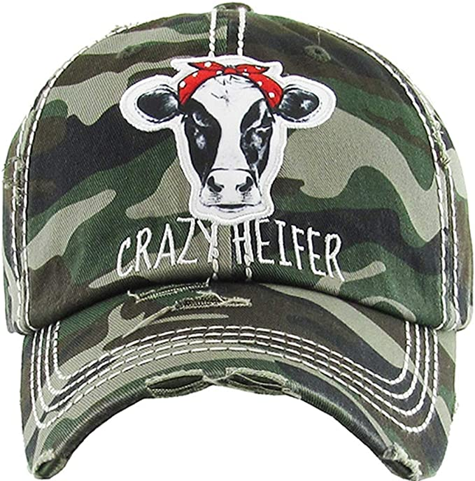Adjustable Heifer Cow Farm Country Womens Ladies Baseball Cap Hat Crazy or Bull