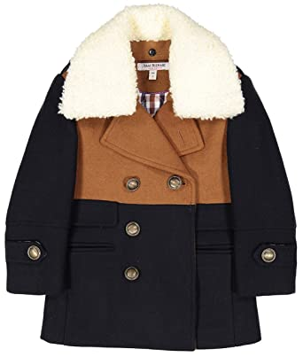 db2738483e0b Amazon.com  Isaac Mizrahi Boy s Two Toned Double Breasted Coat with ...