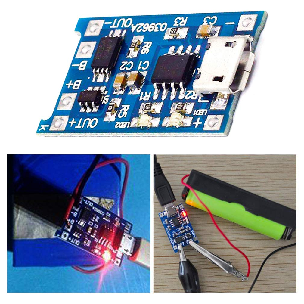 Icstation Tp4056 Micro Usb 5v 1a 18650 Lithium Battery Ion Protection Circuit On Charging Port Wiring Diagram Charger Board With Overcharge Over Discharge Current Pack Of 10 Home