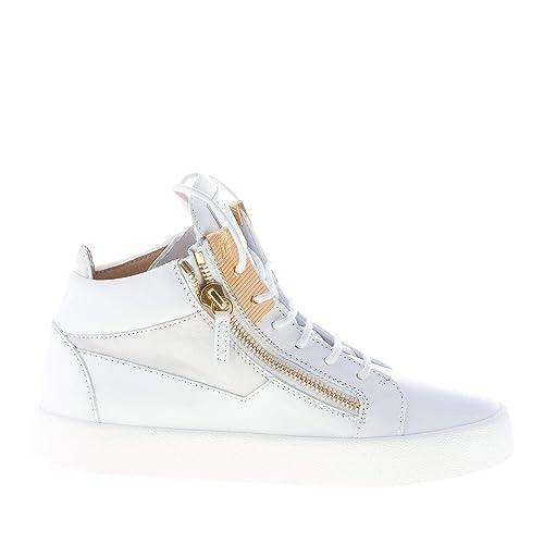 Giuseppe ZANOTTI Uomo Sneaker Alta in Pelle Bianco con Doppia Zip Oro   Amazon.it  Scarpe e borse a8525138b49