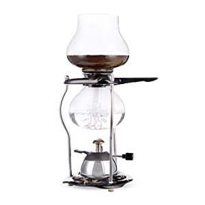 Yama Glass YAMCNT5 Tabletop w/Ceramic Base (20oz) 5-Cup Coffee Siphon with Butane Burner