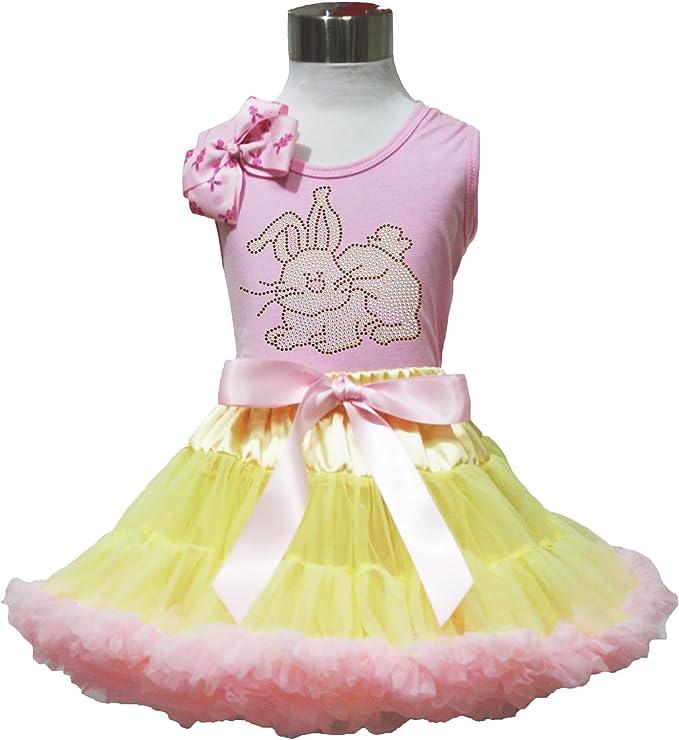 Easter Rhinestone Bunny Rabbit White Top Leopard Waist Pink White Skirt Set 1-8Y