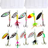 10pcs Fishing Lure Spinnerbait ,Bass Trout Salmon Hard Metal Spinner baitskit with 2 Tackle Boxes by Tbuymax