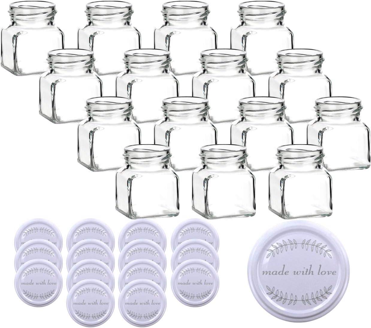 incl 120 ml per barattoli gouveo Set di 15 barattoli Quadrati Vuoti per Conserve Coperchio con Motivi Assortiti marmellate Conserve e Conserve Bianco con Amore Fatto a Mano.
