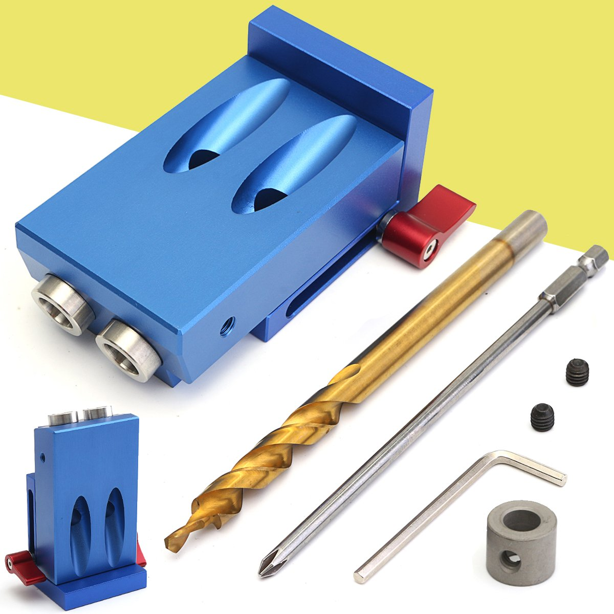 Mini Pocket Hole Jig Kit Style w/ Step Drilling Bit Woodwork Joint Tool Set, Blue