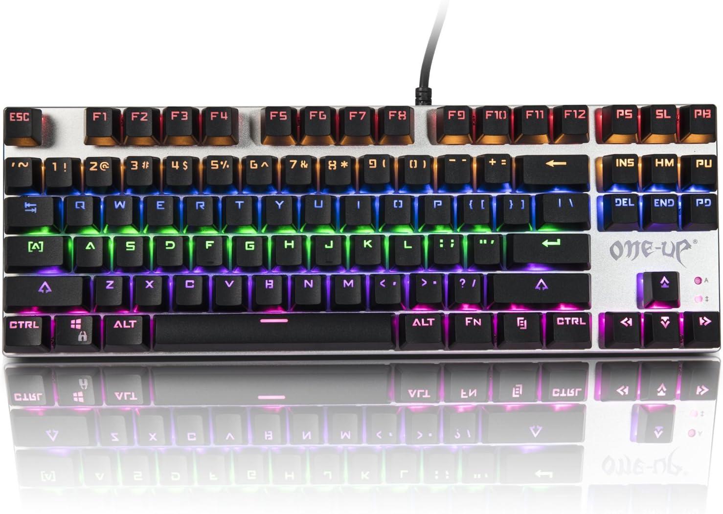 Mechaincal - Teclado para videojuegos, retroiluminado, color azul, 87 teclas, antighost, resistente al agua, con tecla extra y 2 interruptores de ...