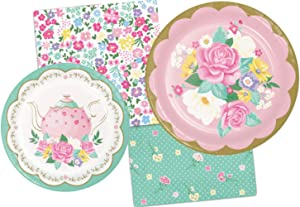 Floral Themed Tea Party Supply Pack Bundle Includes Paper Plates & Napkins for 8 Guests