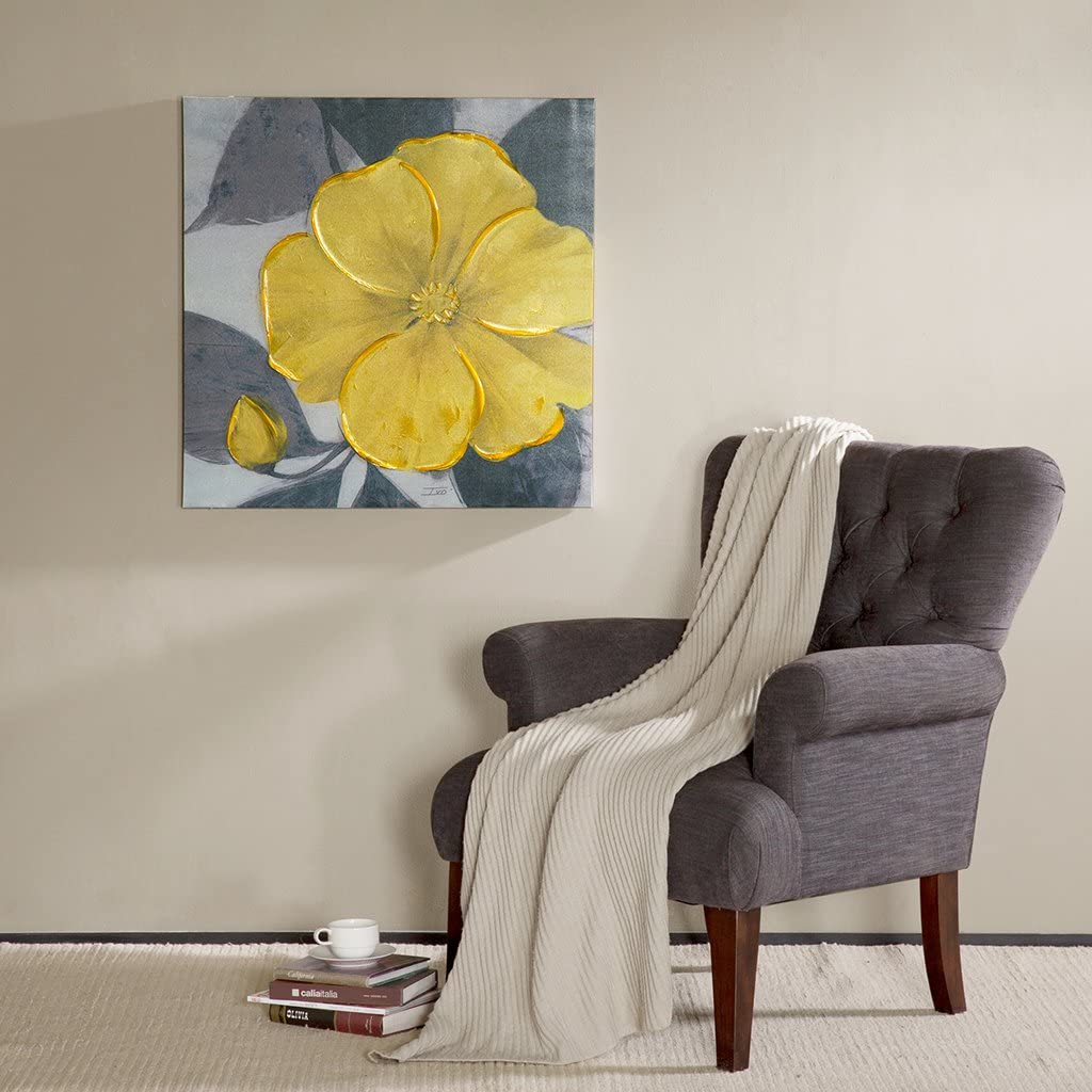 Madison Park 30 X 30 inch, Transitional Décor Yellow Bloom Hand Embellished Floral Canvas Wall Art, See