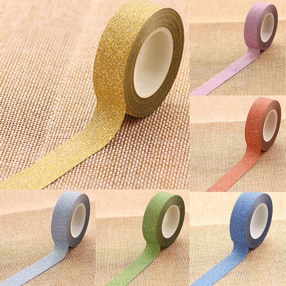 Taglia Unica Gold Lsgepavilion 10/m Glitter Washi Sticky Paper Adesivo DIY Craft Label Decorativo