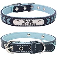 THAIN Leather Custom Collar,Braided Leather Engraved Dog Collars with Personalized Stainless Steel Nameplate for Small…