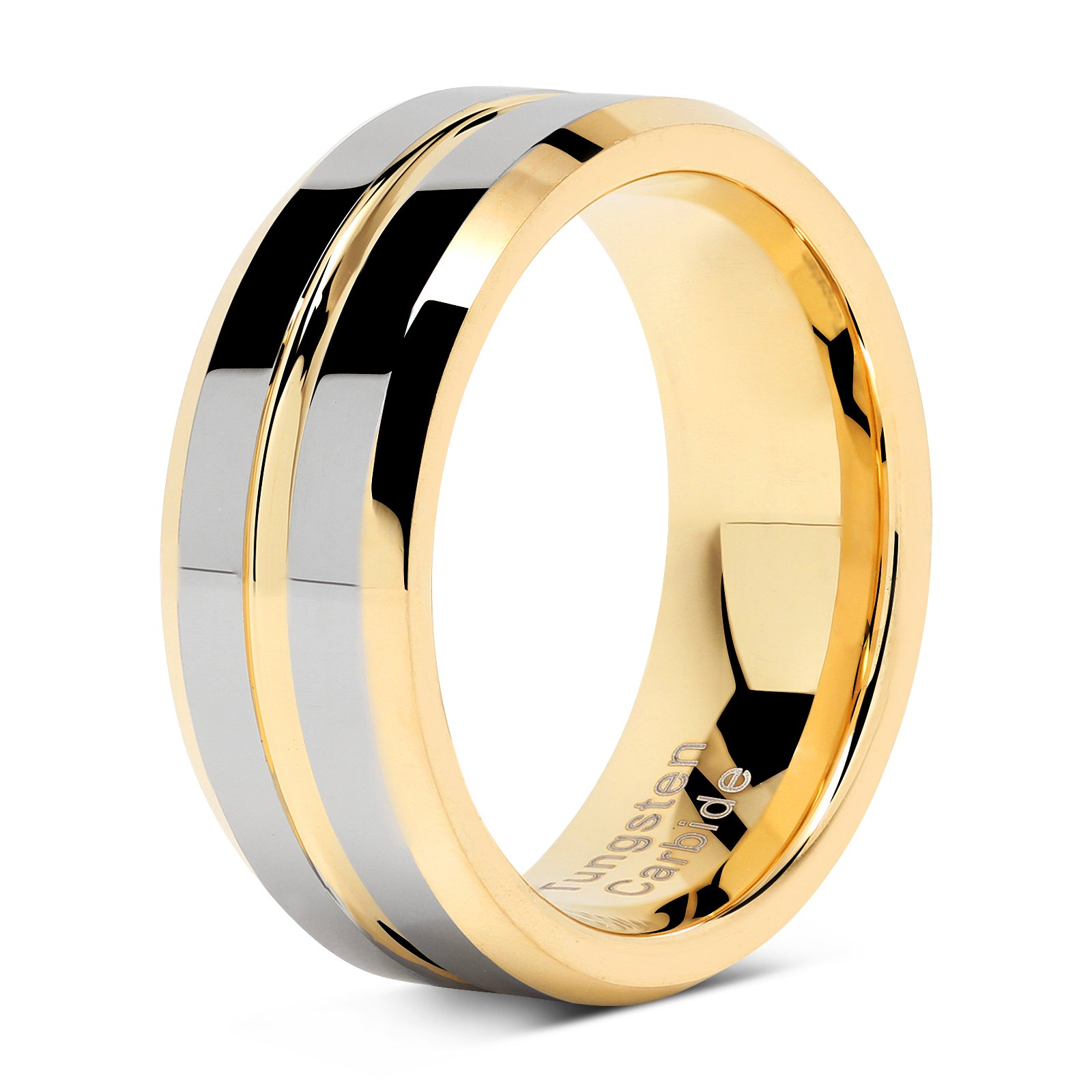 Tungsten Rings for Mens Wedding Bands Gold Silver Two Tone Grooved Center Line Size 8-15 (13) by 100S JEWELRY (Image #2)