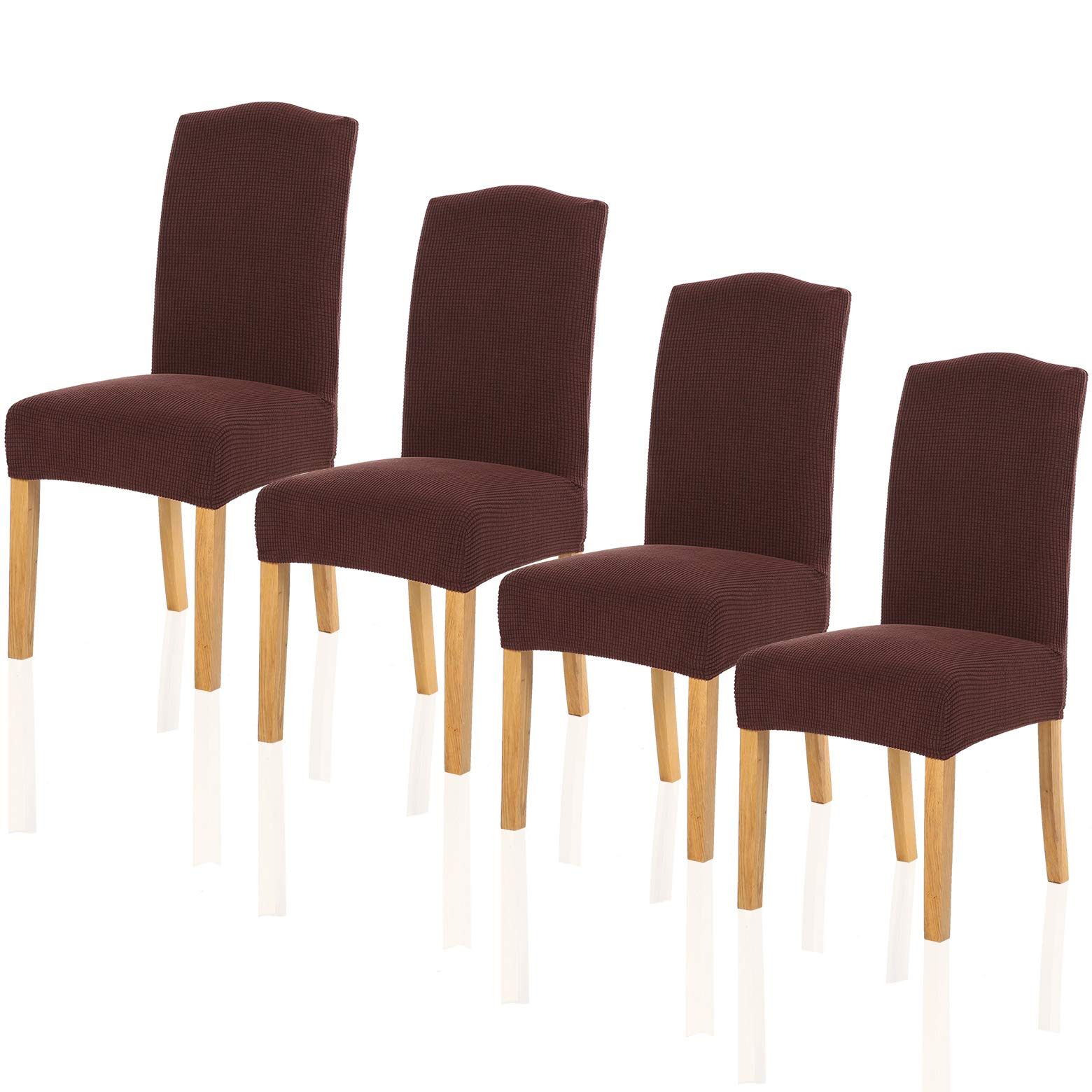 TIANSHU Stretch Chair Cover for Home Decor Dining Chair Slipcover (4 Pack, Chocolate)