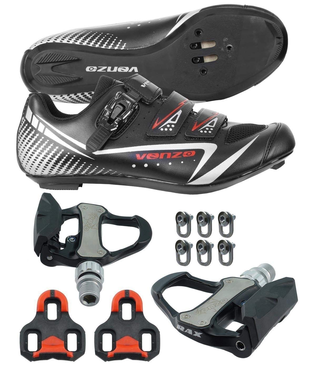 Venzo Road Bike Cycling Shoes Pedals Cleats for Shimano SPD SL Look Size 43