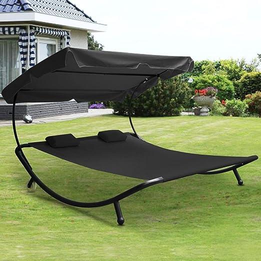 Popamazing – Negro Doble – Tumbona de jardín Día Cama Hamaca Tumbona de exterior con wheels-easy mover: Amazon.es: Jardín