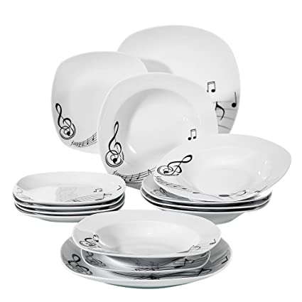 Amazoncom Veweet 18 Piece Porcelain Dinnerware Sets Square