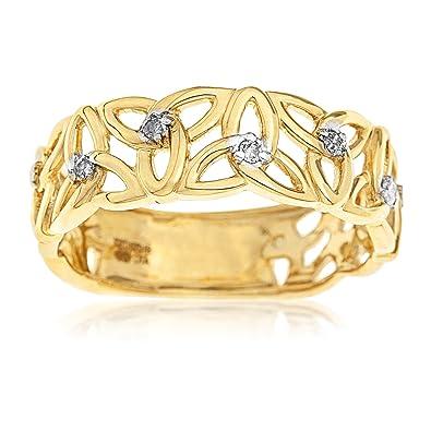 Kareco 9ct Yellow Gold 5 Point Diamond Set Linked Celtic Trinity