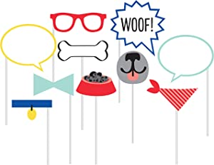Creative Converting Dog Party Photo Booth Props, 10 Count, Multicolor, 0.03x7x12inc.