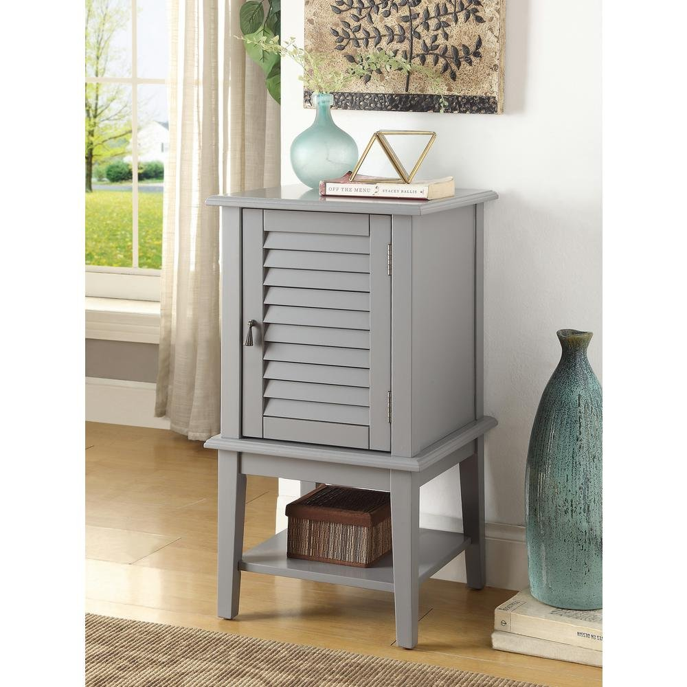 Major-Q Floor Cabinet Storage for Dining / Kitchen / Living Room, Rectangular, Wood Rustic and Grey Finish, 16 x 16 x 30