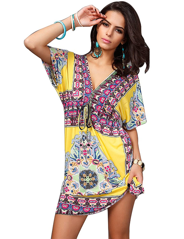 2887b217090e1 durable modeling MoYoTo Womens Fashion V Neck Beach Wear Summer Swimsuit  Cover Ups Bikini Dresses