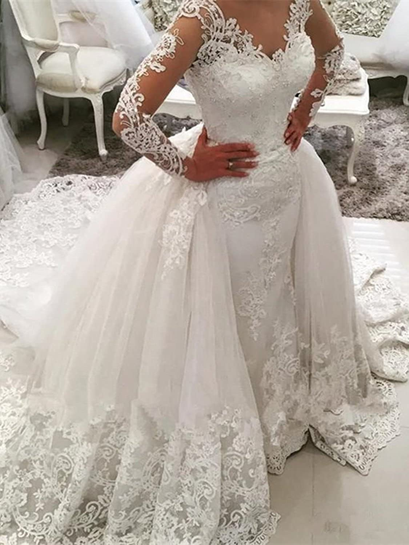 Annxrose Damen Ballkleid Langarm V-Ausschnitt Spitze Appliques T/üll Hochzeitskleid Brautkleid