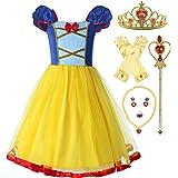 ReliBeauty Disfraz de Princesa sin Espalda con Cintura elástica para niñas