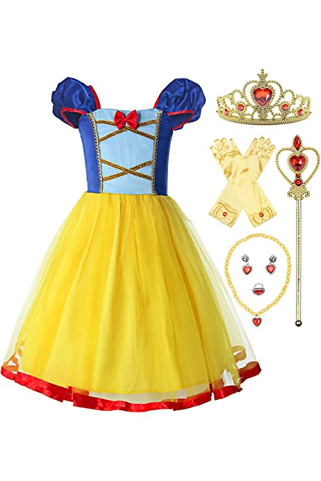 MetCuento Girls Costume Kids Toddlers Princess Dress Up Party Cosplay Birthday Outfits Accessories