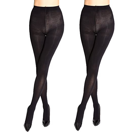 75ecd590d MANZI Women s 2 Pairs Big Size Opaque Black Tights 80 Denier at ...