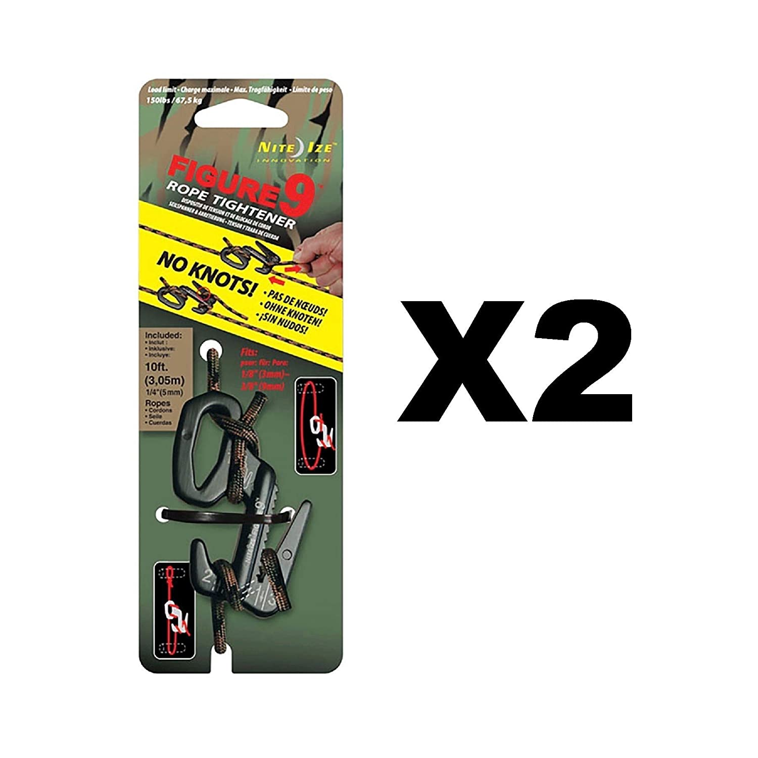 Nite Ize Figure 9 Rope Tightener Large w// Rope Black//Camo Tie Down Tool 2-Pack