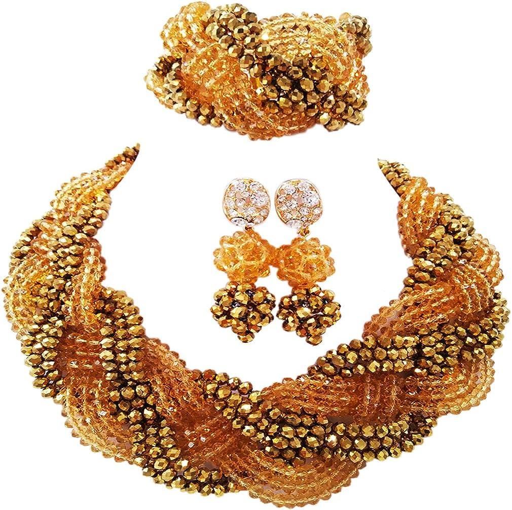 laanc oro y oro champán cristal Lady boda nigeriano collar pulsera pendientes africano conjuntos de joyas