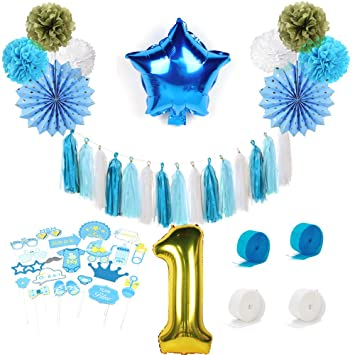 Sunbeauty Anniversaire 1 An Garcon Decoration Bleu Or Ballon Deco Papier Pompon De Soie Tassel Photo Booth Birthday Banderole Bleu