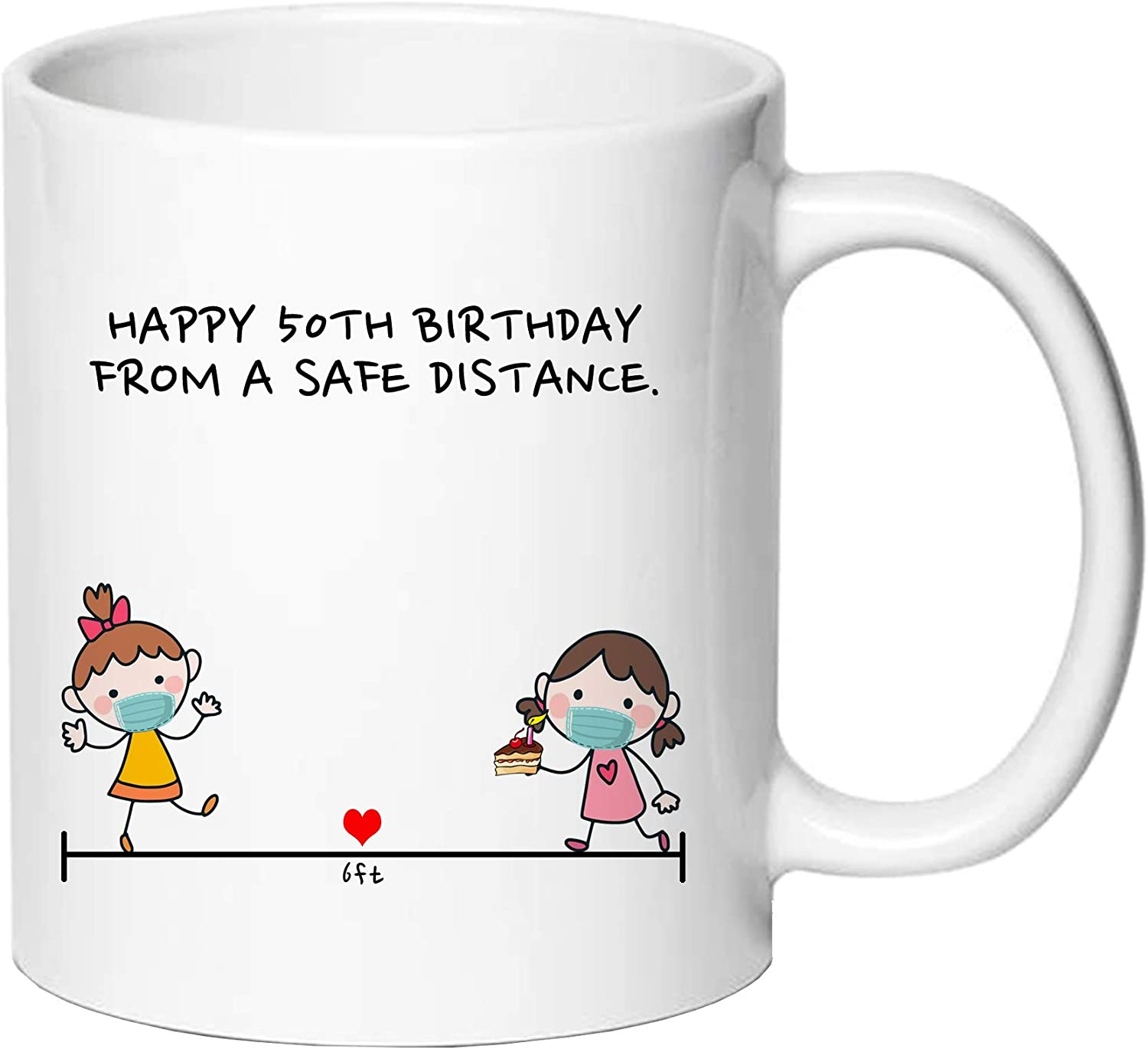 AliCarr Happy 50TH Birthday from A Safe Distance 6ft Away Coffee Mugs - Novelty Ceramic Coffee Mug Tea Cup White 50th Birthday Gifts for Women Gift Ideas