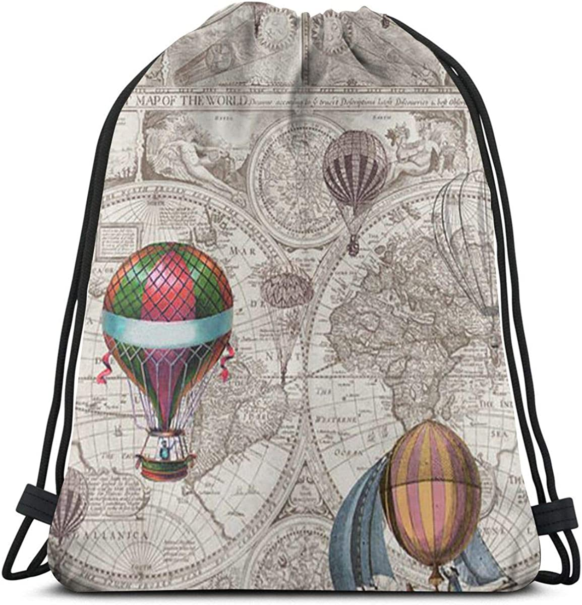 Bags Steampunk Map Printing Water Resistant Sports Gymsack Drawstring Bag