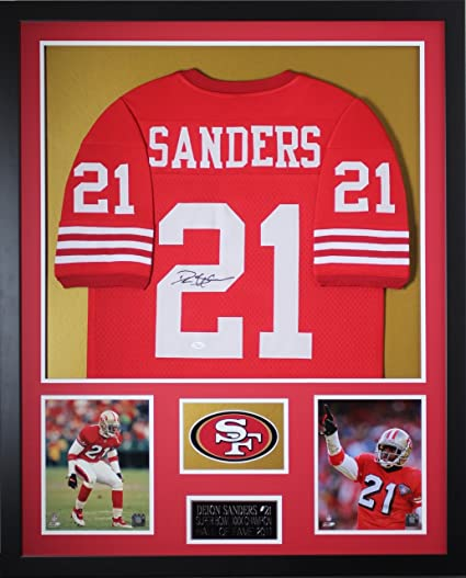 save off 951a8 4dd3b Deion Sanders Autographed Red 49ers Jersey - Beautifully ...