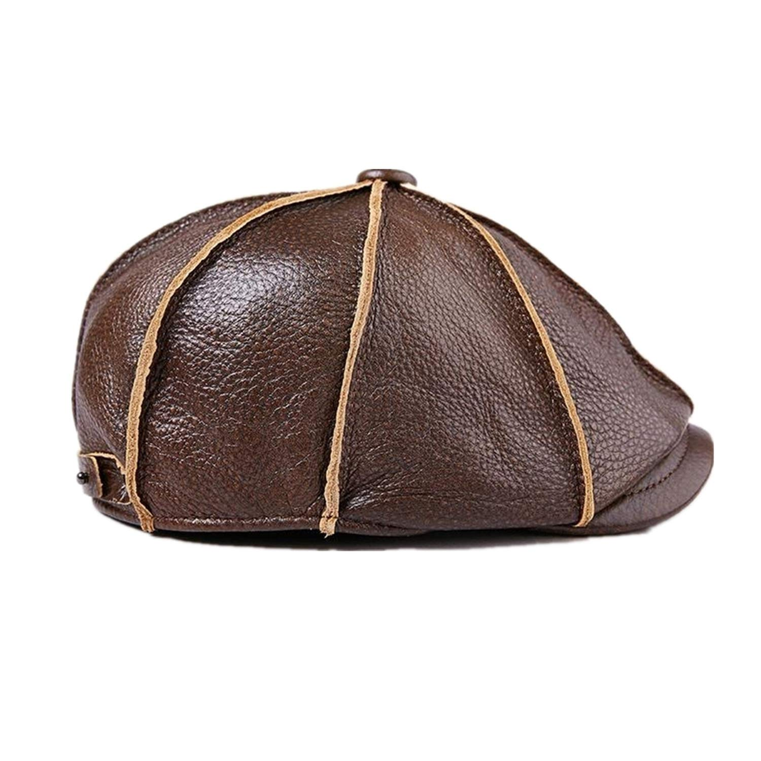 Newsboy Caps Real Cow Leather Women Brown Cap Ivy Duckbill Hats Spring Flat Hats,Yellow Brown,S(55-56 cm)
