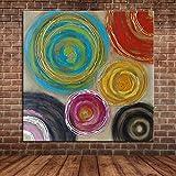 IPLST@ Astratta cerchi colorati della pittura a olio su tela, moderna Thick muro dipinto murale Decorazione Quadro per Soggiorno Camera da letto -24x24inch (Nessuna cornice, senza barella)